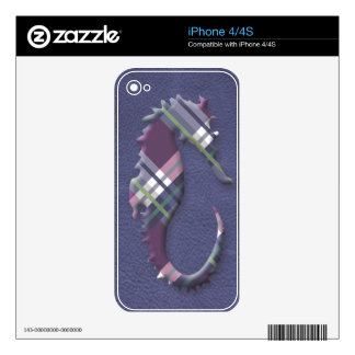 Sea Horse in Purple Wine Plaids on Slate Leather Decals For The iPhone 4S