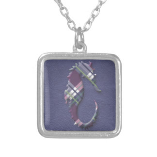 Sea Horse in Purple Wine Plaids on Slate Leather Silver Plated Necklace