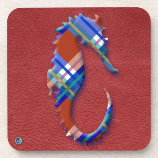 Sea Horse in Red and Blue Plaid on Leather texture Beverage Coaster