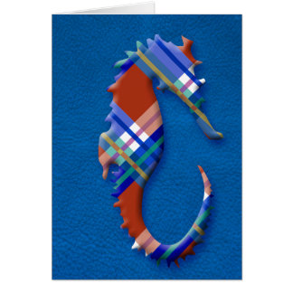 Sea Horse in Red and Blue Plaid on Leather texture Card