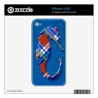Sea Horse in Red and Blue Plaid on Leather texture Decal For The iPhone 4