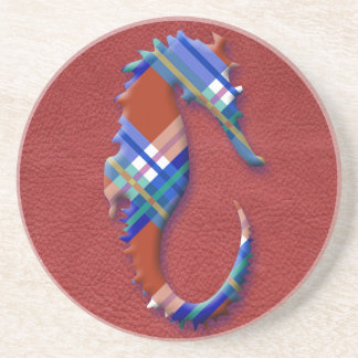 Sea Horse in Red and Blue Plaid on Leather texture Drink Coaster