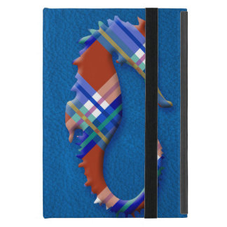 Sea Horse in Red and Blue Plaid on Leather texture iPad Mini Case