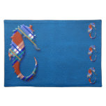 Sea Horse in Red and Blue Plaid on Leather texture Place Mat