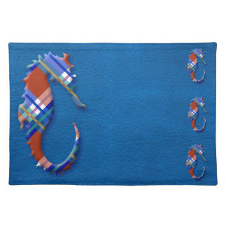 Sea Horse in Red and Blue Plaid on Leather texture Cloth Place Mat