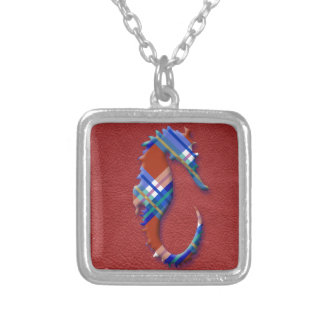 Sea Horse in Red and Blue Plaid on Leather texture Silver Plated Necklace