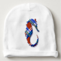Sea Horse in Red and Blue Plaid Pattern Baby Beanie