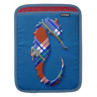 Sea Horse in Red Blue Plaids on Leather texture iPad Sleeve