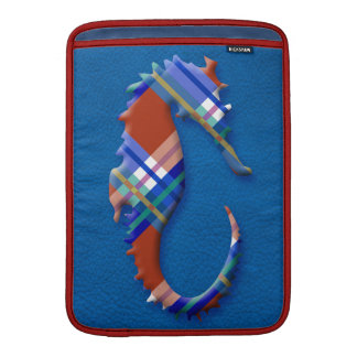 Sea Horse in Red Blue Plaids on Leather texture Sleeve For MacBook Air