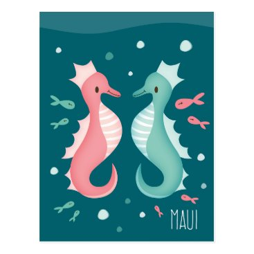"Hawaiian Themed ""Sea Horse Maui"" Postcard"