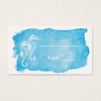 Sea Horse on Watercolor Wedding Escort Card