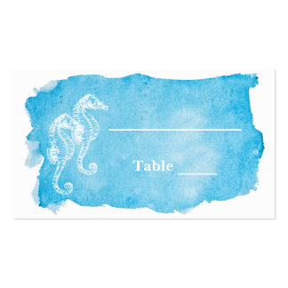 Sea Horse on Watercolor Wedding Escort Card Business Card