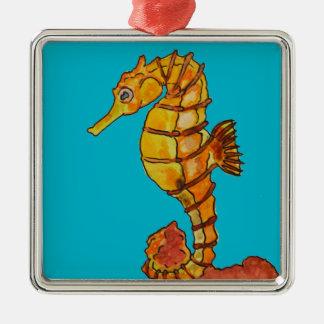 Sea horse Silver-Colored square decoration