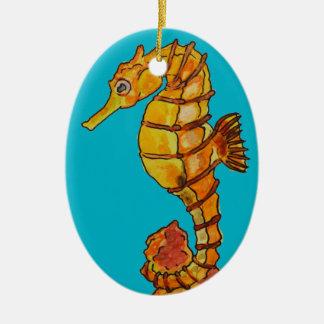 Sea horse ceramic oval decoration