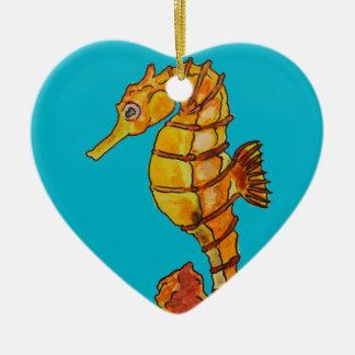Sea horse ceramic heart decoration