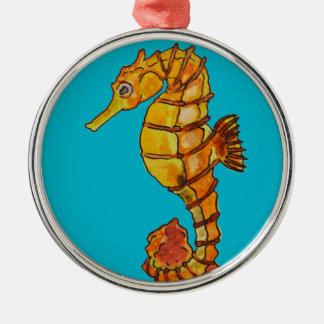 Sea horse Silver-Colored round decoration