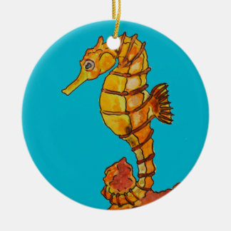 Sea horse round ceramic decoration