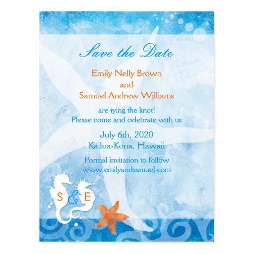 Sea horse pair beach wedding save the date postcard zazzle