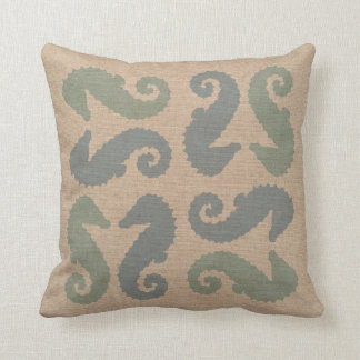 Sea Horse Pairs in Beach Blue and Green Pillow