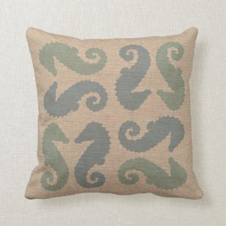 Sea Horse Pairs in Beach Blue and Green Throw Pillow