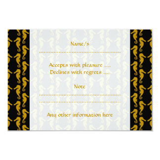 Sea Horse Pattern. Black and Brown. Card