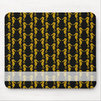 Sea Horse Pattern. Black and Brown. Mouse Pad