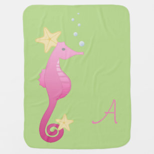 Sea Horse /Personalize Baby Blanket
