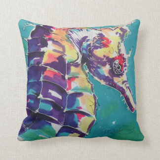 Sea Horse Silk Painting Throw Pillow
