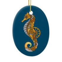 SEA HORSE STEAMPUNK ART CERAMIC ORNAMENT