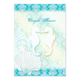 Sea Horse Summer Beach Wedding Couple Shower Card