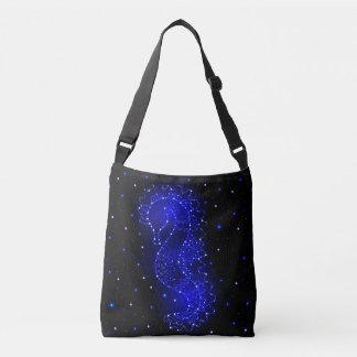 sea horse swims in lights crossbody bag