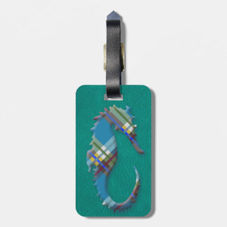 Sea Horse Till Plaids on Turquoise Leather Bag Tag