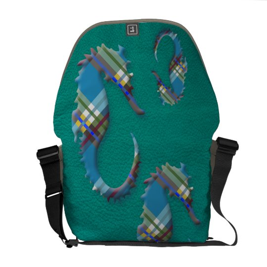 Sea Horse Till Plaids on Turquoise Leather Courier Bag