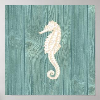 Sea Horse Vintage Aqua Wood Poster