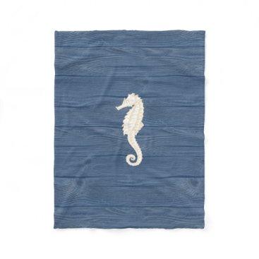 Beach Themed Sea Horse Vintage Blue Wood Beach Fleece Blanket
