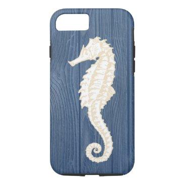 Beach Themed Sea Horse Vintage Blue Wood Beach iPhone 7 Case