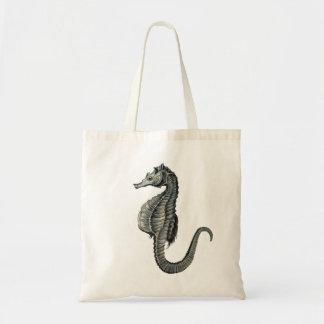 Sea horse vintage image bage tote bags