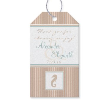 Beach Themed Sea Horse Wedding Guest Favor Thank You Gift Tags