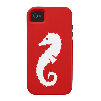 Sea Horse White on Red Case For The iPhone 4