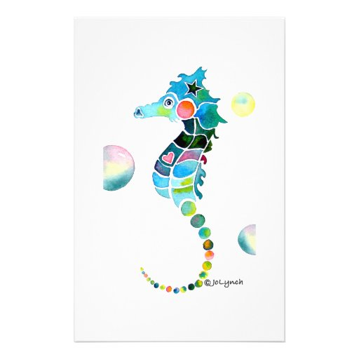 Sea Horse with Bubbles Custom Stationery