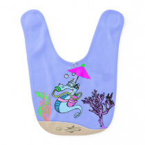 Sea Horse with Umbrella on Periwinkle Baby Bib