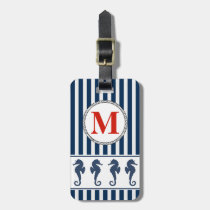 Sea Horses and Stripes Nautical Monogram Luggage Tag