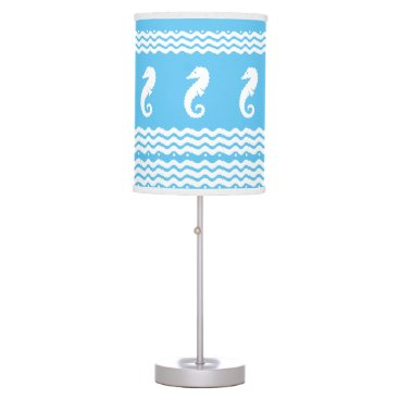 Beach Themed SEA HORSES and waves Blue and White Custom  Lamp