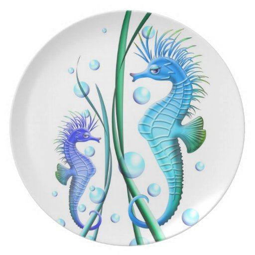 Sea horses Cartoon Plate