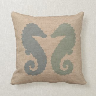 Sea Horses in Blue and Green Pillows