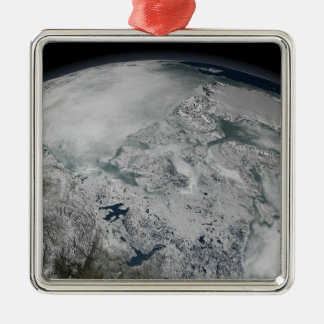 Sea ice above North America Metal Ornament