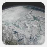 Sea ice above North America Square Sticker