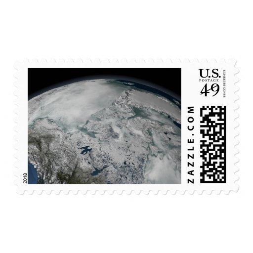 Sea ice above North America Stamp