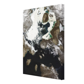Sea ice and sediment visible in Nunavut, Canada Stretched Canvas Print