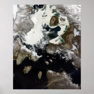 Sea ice and sediment visible in Nunavut, Canada Print